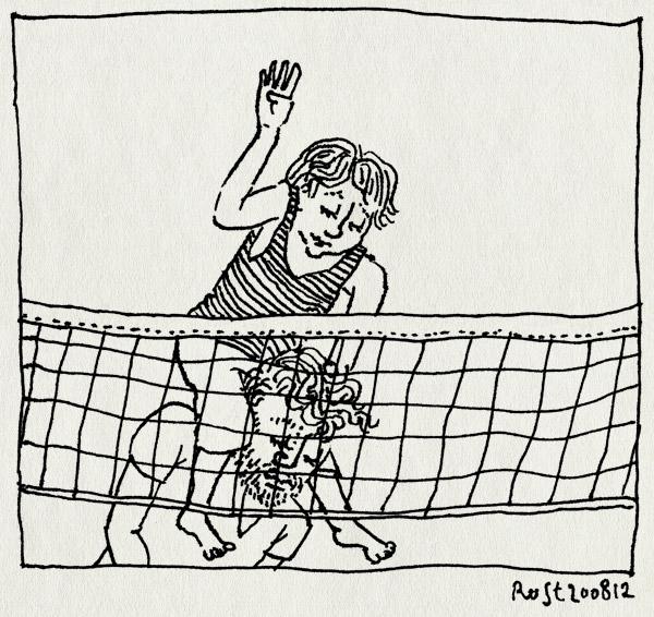 tekening 1914, midas, net, smash, texel, vakantie2012, volleybal