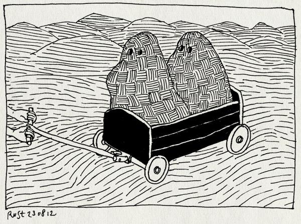 tekening 1917, alwine, bolderkar, bolderwagen, duinen, kleed, midas, spoken, spook, spookjes, texel, vakantie2012, verstopt
