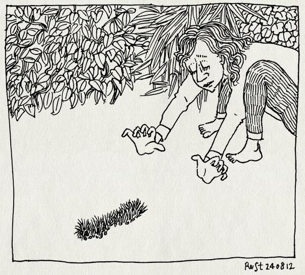 tekening 1918, alwine, beestjes, bremakker, camping, martine, rups, texel, vakantie2012, vangen
