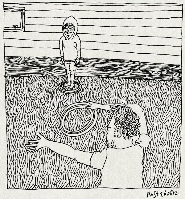 tekening 1920, bremakker, frisbee, gooien, huisje, leuk, midas, paalwerpen, stado, texel, vakantie2012