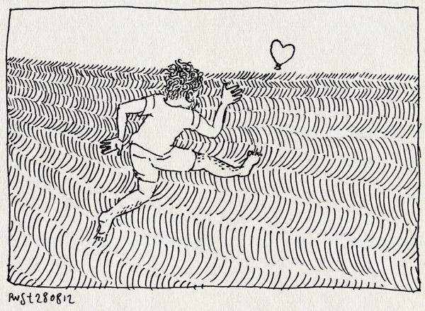 tekening 1922, ballon, emil, erika, graanveld, hartje, rennen, texel, vakantie2012, veld, waargebeurd