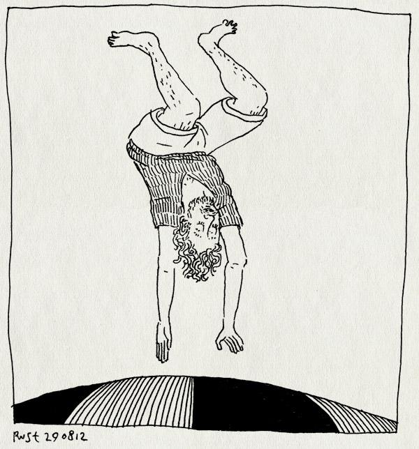 tekening 1923, bremakker, camping, ondersteboven, springen, springkussen, texel, vakantie2012