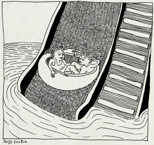 tekening 1924, alwine, de krim, glijbaan, indoor, midas, nat, plas, regen, regendag, texel, vakantie2012