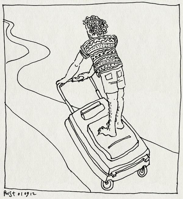 tekening 1926, einde, einder, koffer, pad, rijden, segway, terug, texel, vakantie2012
