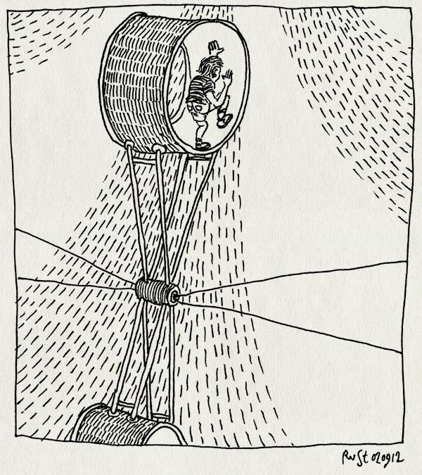 tekening 1927, actobaat, circus, circus herman renz, lichten, midas, molen, piste, renz