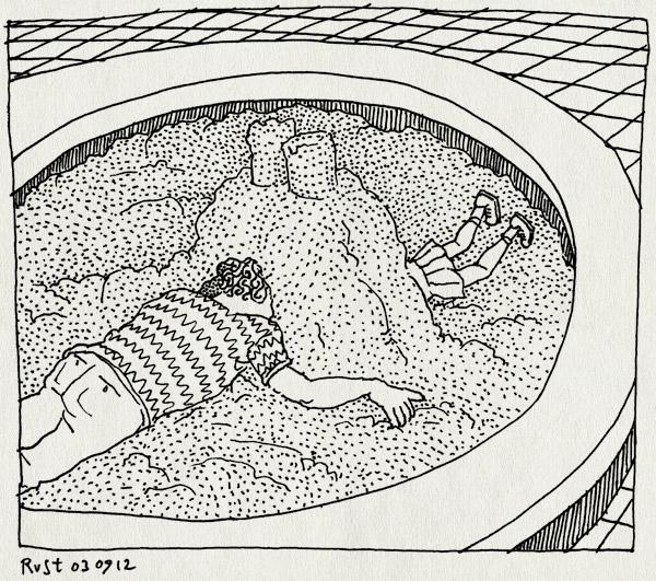 tekening 1928, alwine, gang, graven, kasteel, spelen, zandbak, zandkasteel