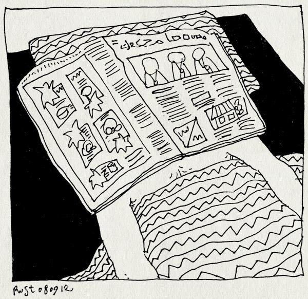 tekening 1933, bed, hoofd, krant, liggen, moe, verkouden