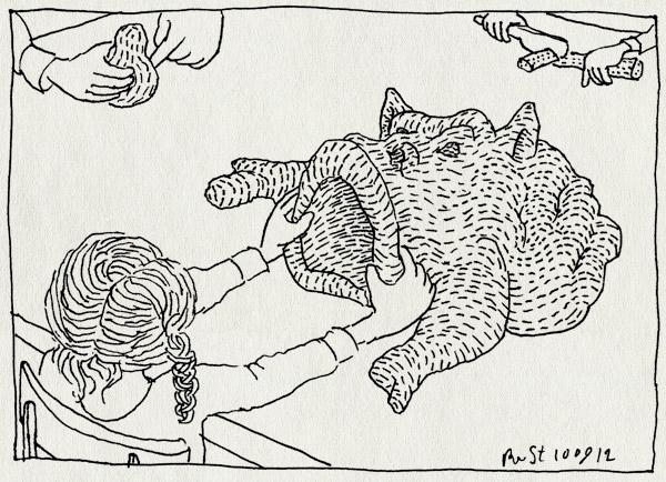 tekening 1935, alwine, barbapapa, kleien, midas, monster, snijden