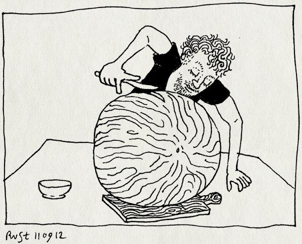 tekening 1936, aansnijden, groot, meloen, mes, snijplank