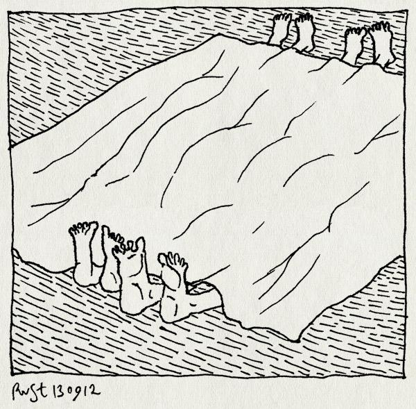 tekening 1938, alwine, bed, kleed, martine, midas, vloet, voeten, voetjes