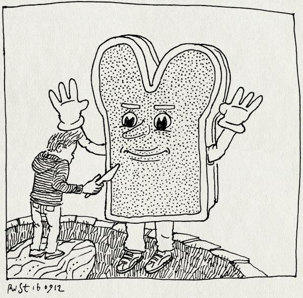 tekening 1941, brood, broodje, le patichou, maasstraat, mes, midas, pak, smaak van de maasstraat, smeren, van vessem