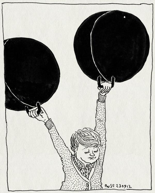tekening 1948, achtertuin, draaien, feestje, michiel, midas, nathan, skippybal, skippyballen