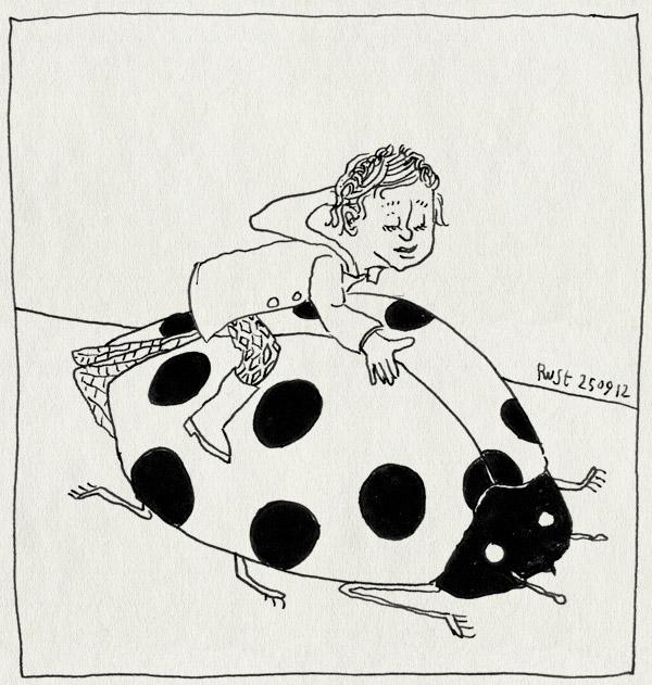 tekening 1950, alwine, berijden, groot, insectofiel, lieveheersbeestje, rug, verzinsel
