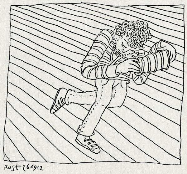 tekening 1951, accordeon, harmonica, trekzak, vloer