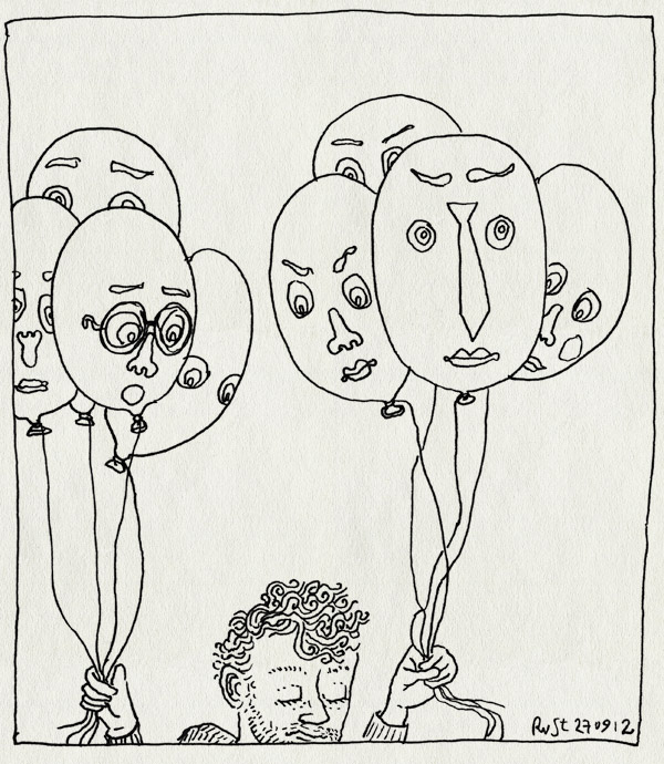 tekening 1952, ballonnen, gezichtjes, innovatiefestival, kusters en montens, pluk