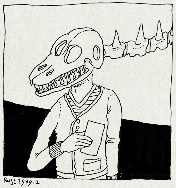 tekening 1954, den haag, dino, dinosaurus, museon, omniversum, schedel