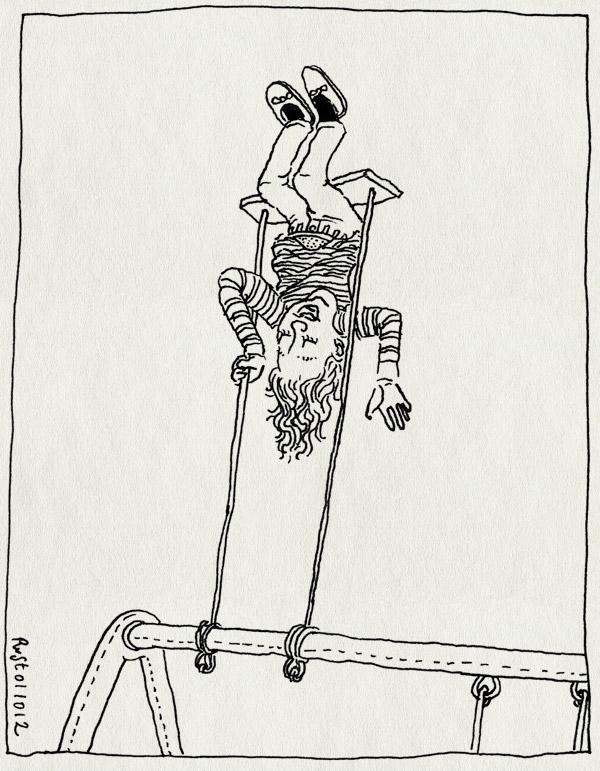 tekening 1956, alwine, hard, harder, hardst, ondersteboven, schommel, wieeeee