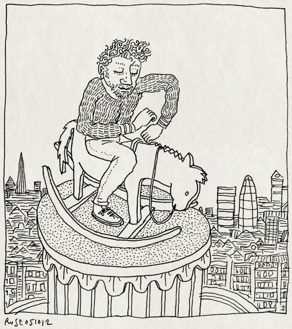 tekening 1960, Elmgreen and Dragset, gangam style, hobbelpaard, london, op, rocking horse, statue, trafalgar square