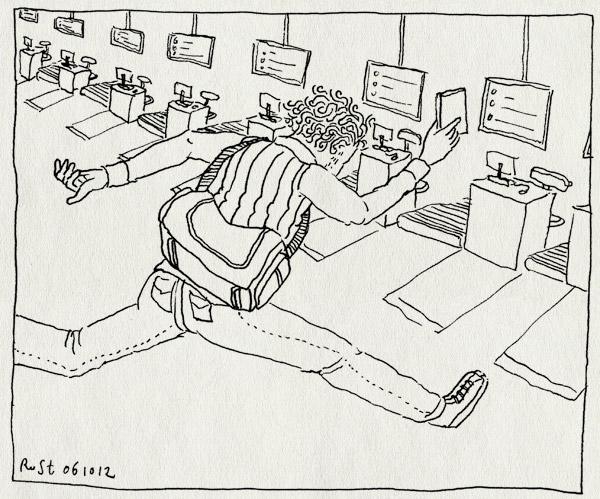 tekening 1961, airport, gatwick, gerben, london, net, op tijd, rennen, te laat