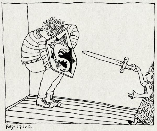 tekening 1962, alwine, draak, drakendoder, eng, ridder, schild, slaan, slayer, zwaard