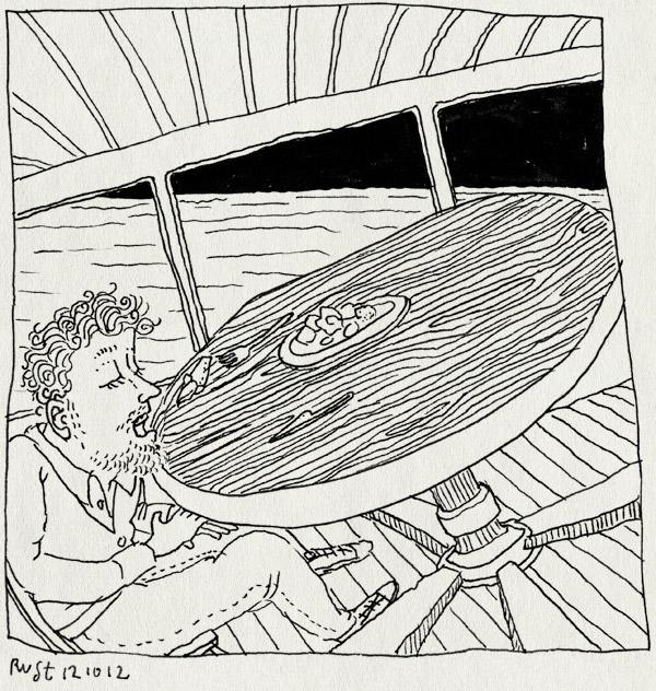 tekening 1967, 40, bandje, barco, boot, diner, eten, feest, maaike hartjes, scheef, schuiven, ship, verjaardag, zeeziek