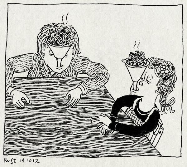 tekening 1969, alwine, avondeten, dwangvoeding, eten, fois gras, genoeg, heropvoeden, midas, opvoeden, opvoeding, tafel, trechter, voeding