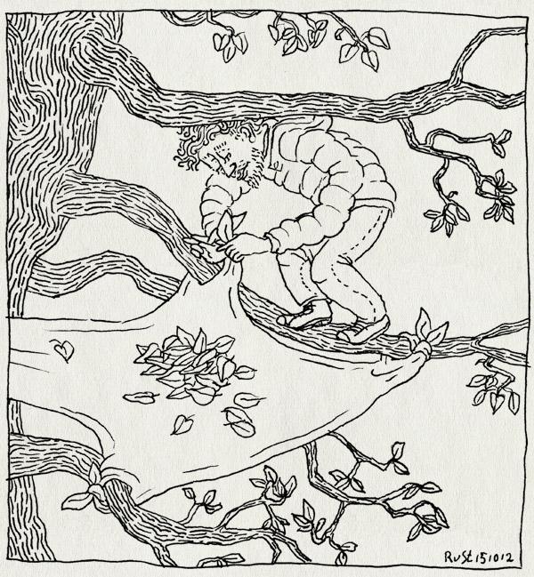 tekening 1970, bladeren, bomen, boom, fall, herfst, jas, laken, opvangen, protest, tegenhouden, trees, weerstand