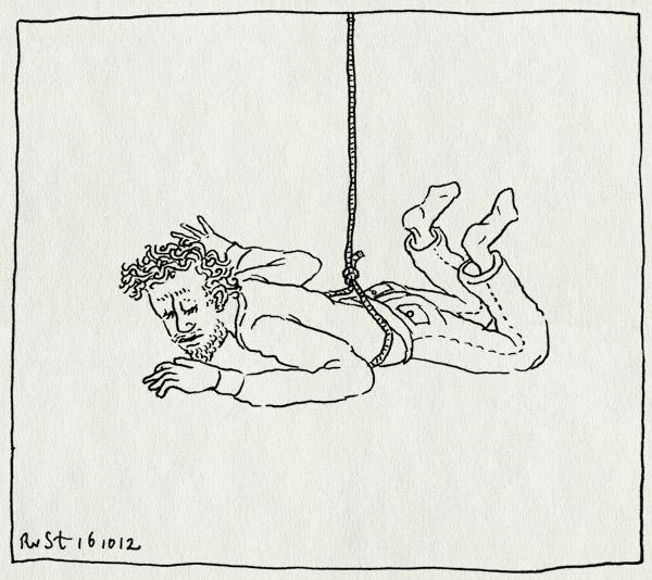tekening 1971, bellevue, buro rust, duif, hangen, mission impossible, touw