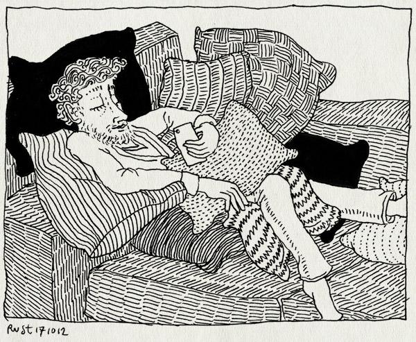 tekening 1972, bank, burorust, chillen, hq, kussens, recensiekoning, relaxdagje, rusten
