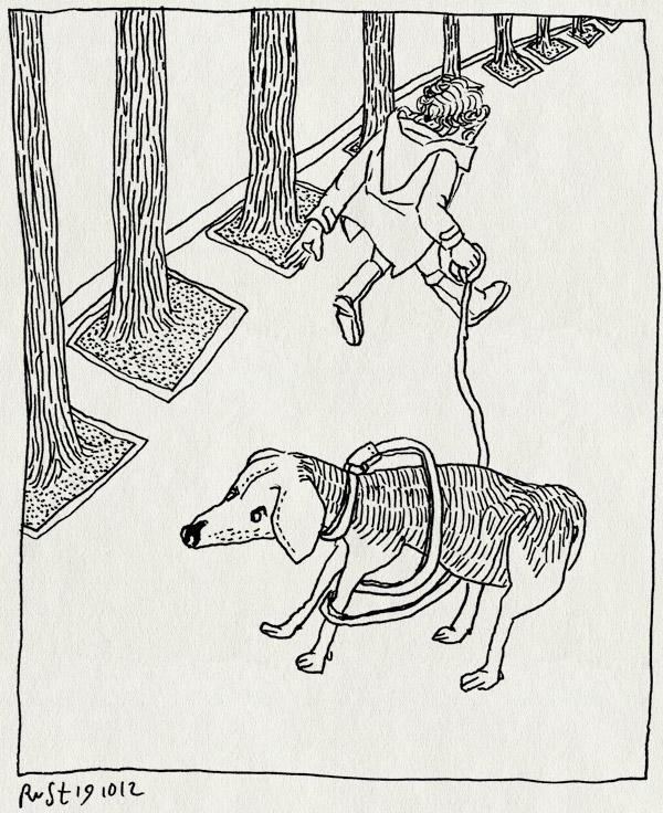 tekening 1974, alwine, churchilllaan, hond, janine, logeerhond, lois, uitlaten
