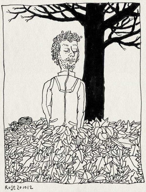 tekening 1975, alwine, berg, bladeren, boom, herfst, kaal, leeg, vallen