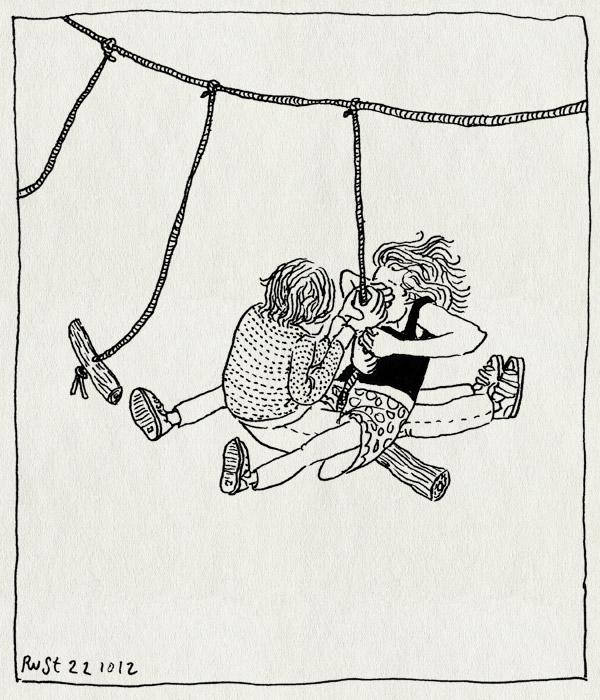 tekening 1977, alwine, midas, onderdelinden, schommelen, spaarnwoude, speelwoud, spinnenbos