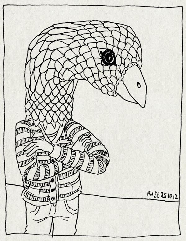 tekening 1980, duif, eng, masker, vogel, vogelkop