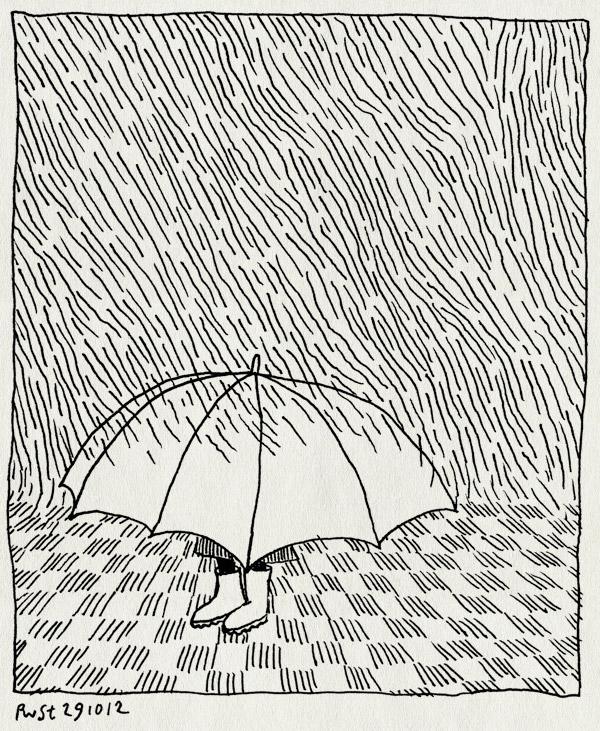 tekening 1984, alwine, laarsjes, paraplu, regen, stoep, verstopt
