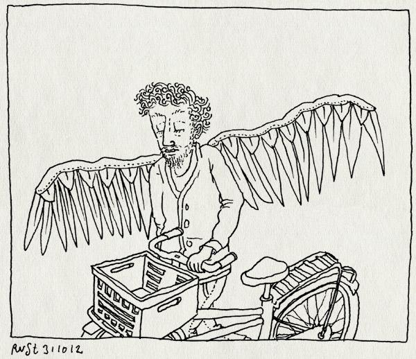 tekening 1986, adelaar, arend, bak, fiets, huis, terug, vogel