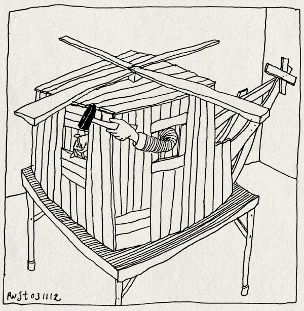 tekening 1989, helicopter, hout, knutselen, lekker bezig, tafel, timmeren