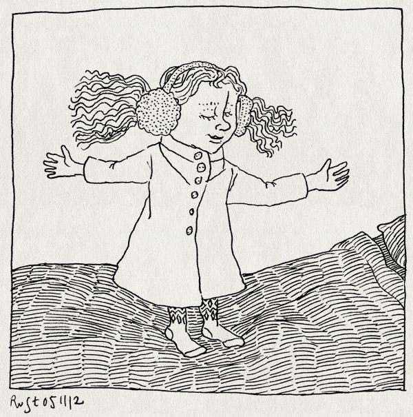 tekening 1991, alwine, bed, haren, jas, maasstraat, oorwarmers, prinses, springen, staartjes