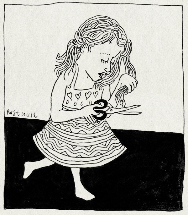 tekening 1996, alwine, haar, knippen, kort, lang, ohjee, schaar