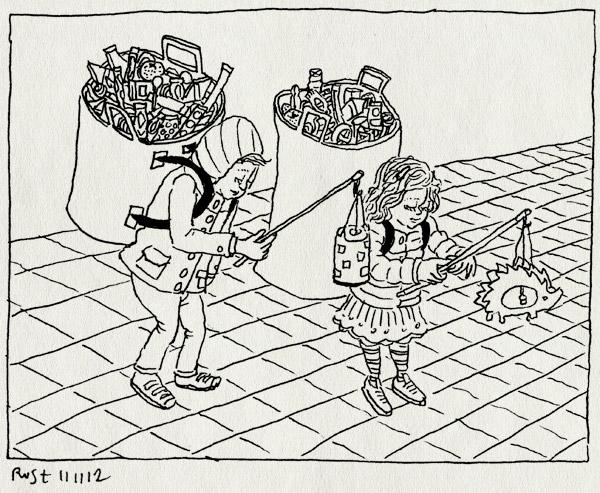 tekening 1997, alwine, amsterdam, deuren, lampionnen, midas, ophalen, sint maarten, snoep, veel, zingen