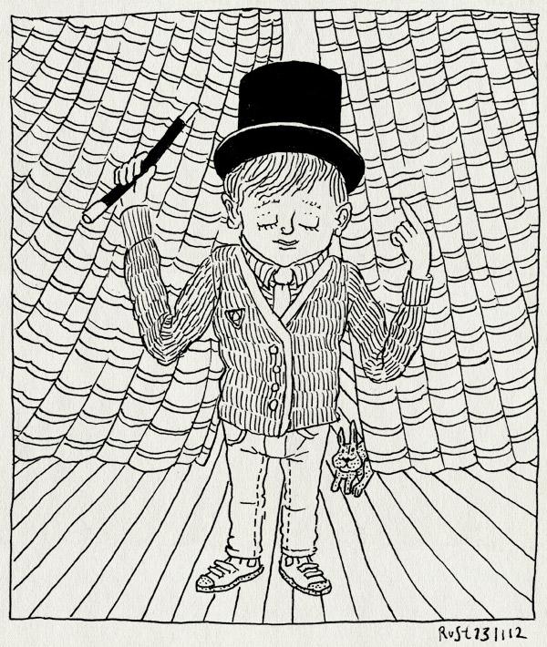 tekening 1999, 6, goochelaar, goochelstok, hoed, hokus pokus pas, jarig, konijn, midas, simsalabim, toverstok, truc, zes