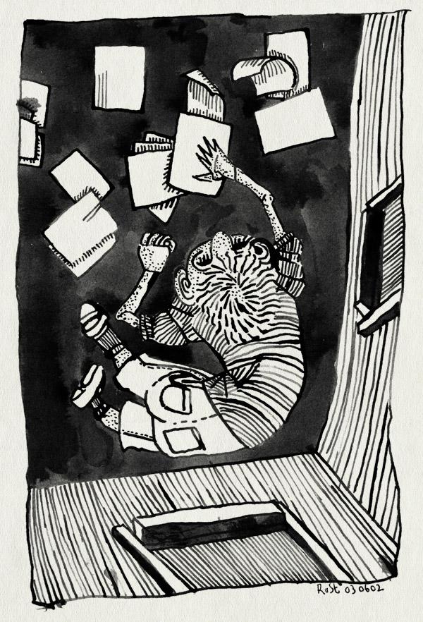 tekening 2, inkt, kamer, liggen, papieren, topview, van boven