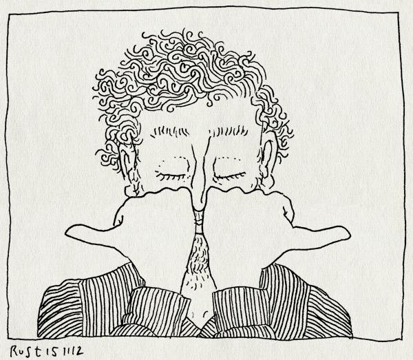 tekening 2001, duim, duimen, like, links, neus, rechts, vuisten