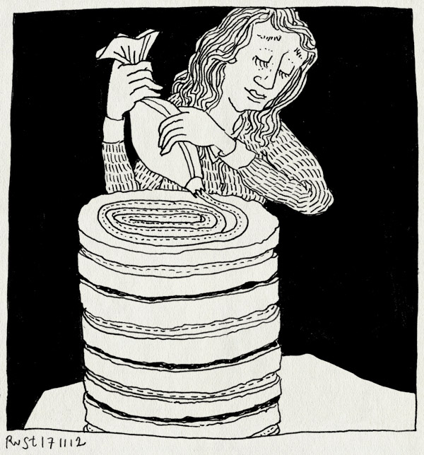 tekening 2003, bakken, feest, martine, opspuiten, slagboom, slagroom, taart, verjaardag