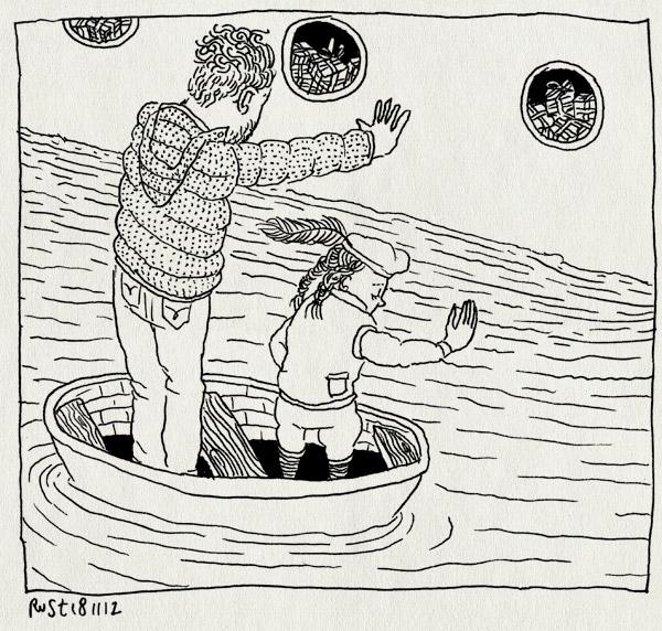 tekening 2004, alwine, amstel, amsterdam, boot, intocht, mobyboot, piet, pietenpak, pietje, sinterklaas, stoomboot, water, zwaaien
