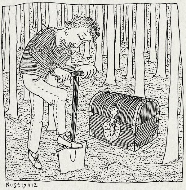 tekening 2005, amstelpark, begraven, bomen, bos, kinderfeestje, schat, schatgraven, schop, voorbereidingen