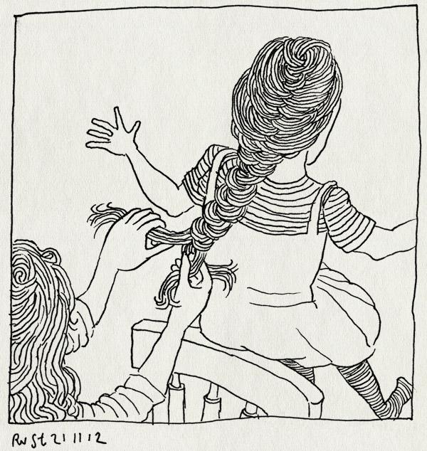 tekening 2007, alwine, dochter, haar, invlechten, martine, moeder, stoel, vlecht, vlechten