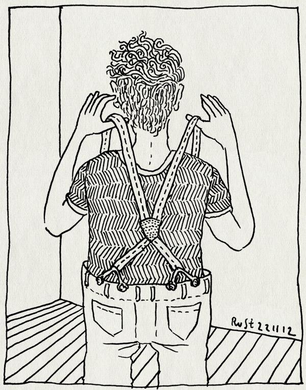 tekening 2008, bretels, groen, nieuwe broek, scotch and soda, suspenders