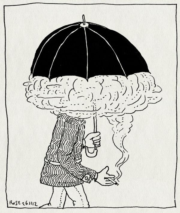 tekening 2012, 2012, bad guy, boef, denkbeeld, onderweg, paraplu, rook, sigaret, straatbeeld, villain, wolk, wolkje
