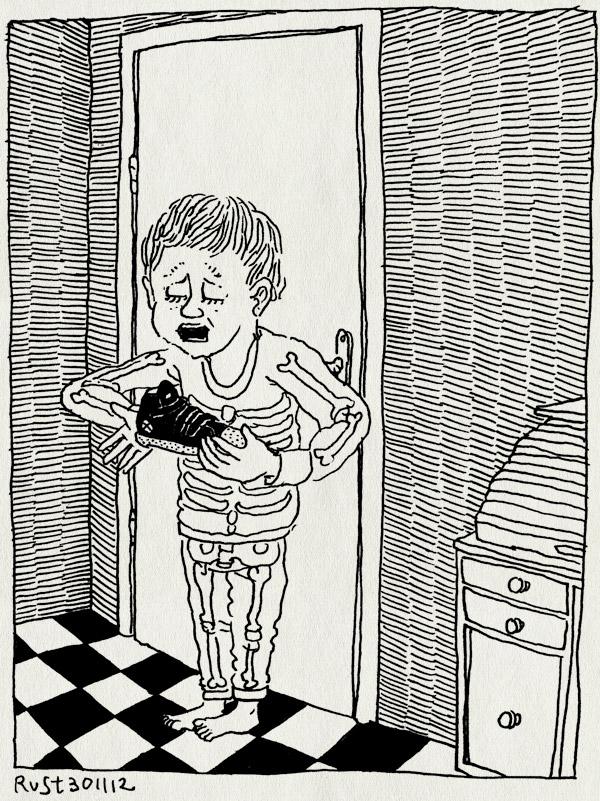 tekening 2016, gang, huilen, leeg, midas, schoen, schoentje zetten, sinterklaas, slechte ouders, vergeten