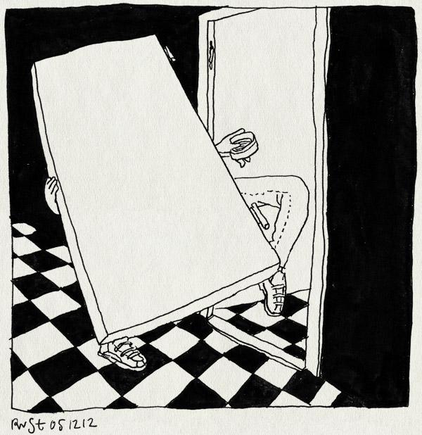 tekening 2021, deur, piep, smeren, tillen, toilet, wc